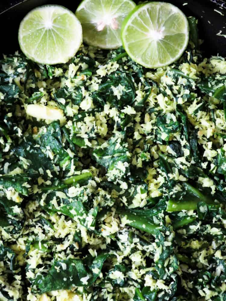 spinach and coconut mallung(no oi stir-fryl)-islandsmile.o