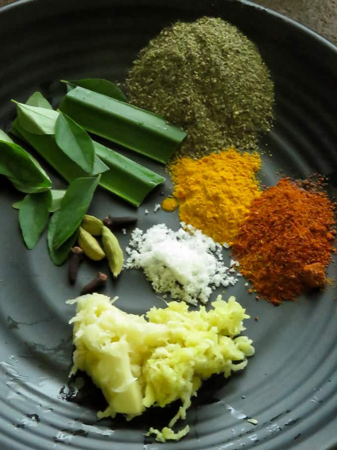 spices needed for the sour fish(ambulthiyal)curry.