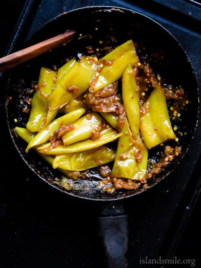 spicy capsicum fry(malu miris theldala).