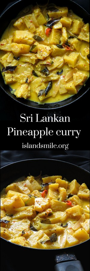 Sri Lankan-mildly spiced pineapple curry, you'll be surprised how good this tropical fruit tastes in curry form. the fruit curry fits into all types of diets from #vegan #vegetarian #gluten-free #low-carb #pineapple #curry #srilankan