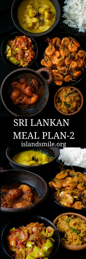 Sri Lankan meal plan 2- Rice with a prawn curry cooked in coconut milk, tempered-dry spicy dhal, capsicum with pickled lime sambol, a creamy potato milk curry and a sweet and spicy ambarella curry makes up this five-dish menu.-islandsmile.org