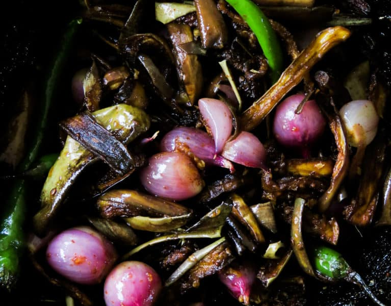 Sri Lankan eggplant/brinjal pickle(wambatu moju)- fried eggplant, shallots, green chillies mixed with mustard-vinegar to pickle the vegetables, giving it a combo of sweet, sour and heat-islandsmile.org