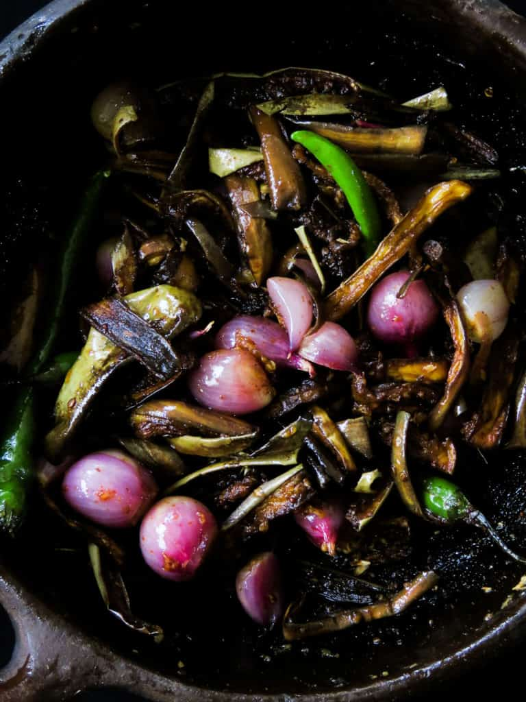 Sri Lankan eggplant/brinjal pickle(wambatu moju)- fried eggplant, shallots, green chilliesmixed with mustard-vinegar to pickle the vegetables, giving it a combo of sweet, sour and heat-islandsmile.org