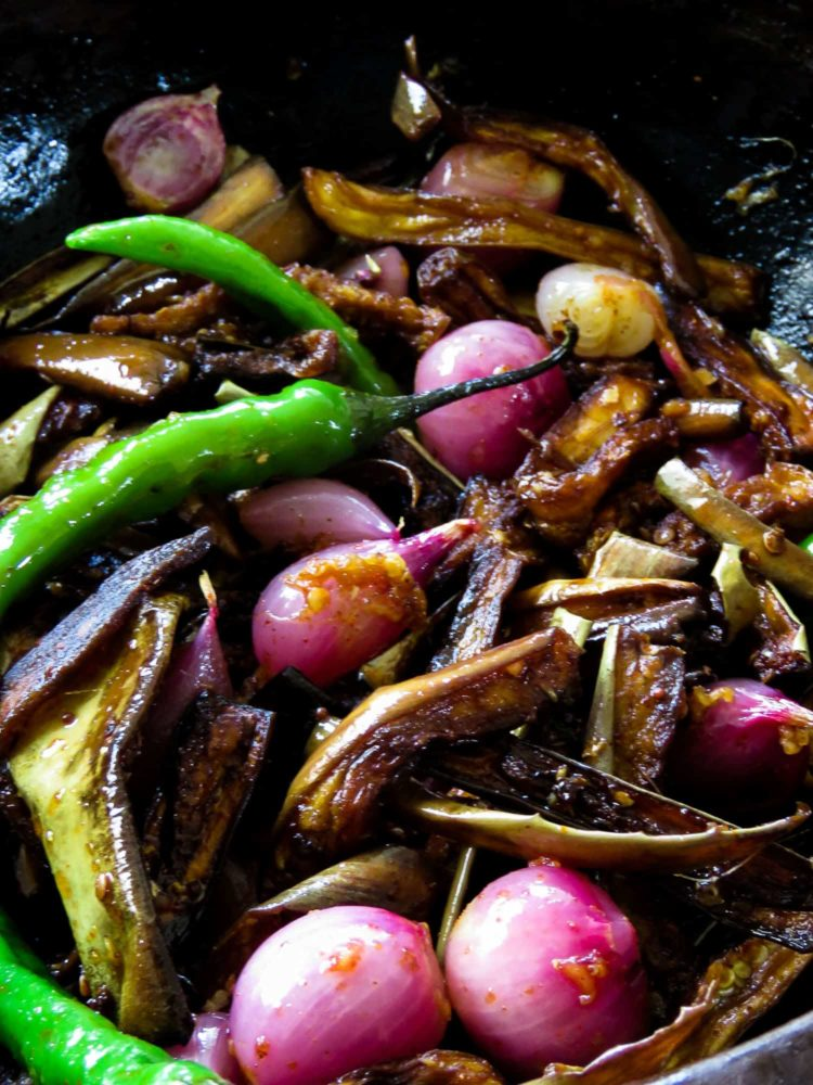 Sri Lankan eggplant/brinjal pickle(wambotu moju)- fried eggplant, shallots, green chillies mixed with mustard-vinegar to pickle the vegetables, giving it a combo of sweet, sour and heat-islandsmile.org