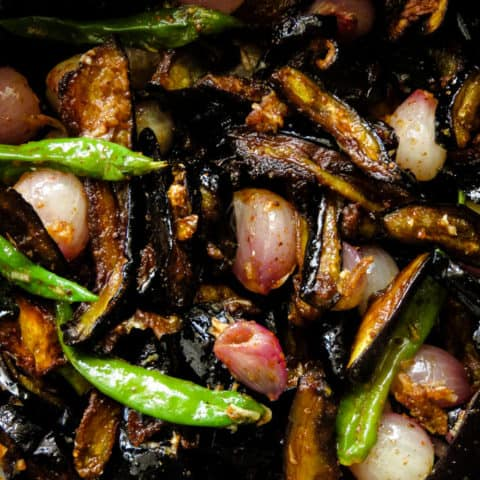 Sri Lankan wambatu moju(eggplant/brinjal pickle).