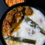 Beef and rice kanji(Sri Lankan, congee)- a staple for breaking fast(iftar), a rice porridge made with a combination of beef stock and coconut milk, slow-cooked gives you the tastiest bowl of congee that warms you up from within.-islandsmile.org