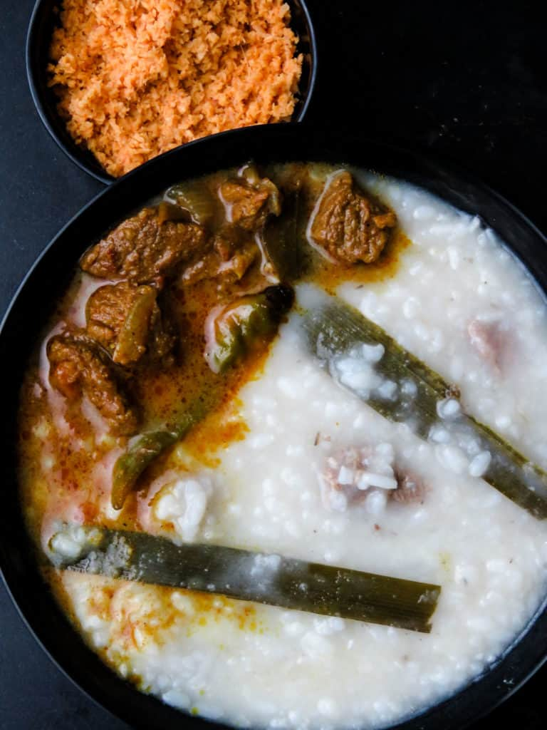 Beef and rice kanji(Sri Lankan, congee)-a staple for breaking fast(iftar),a rice porridge made with a combination of beef stock and coconut milk, slow-cooked gives you the tastiest bowl of congee that warms you up from within.-islandsmile.org