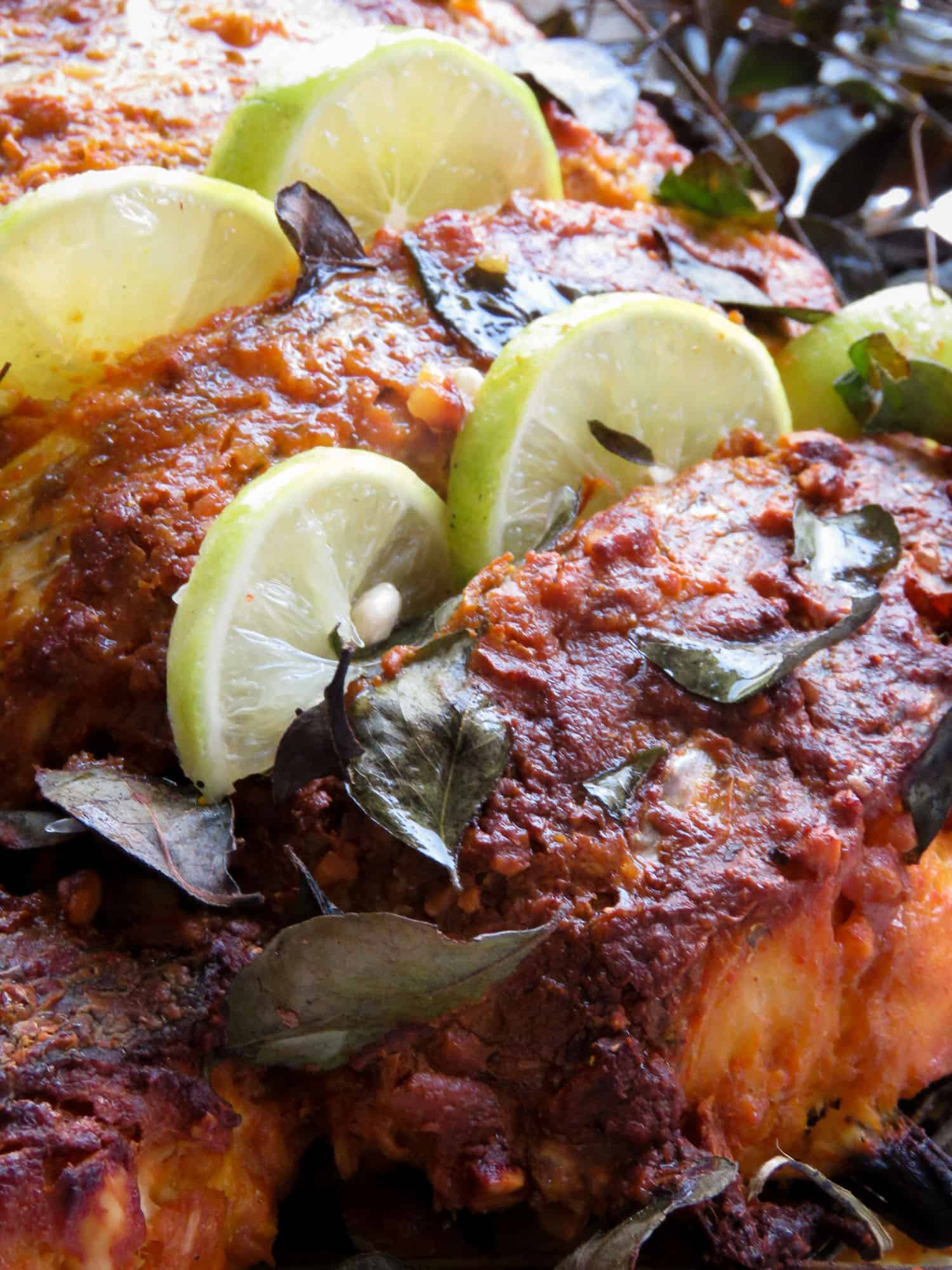 How to make tandoori masala fish(oven-baked, healthy, Indian)- You'll love how the tandoori marinade flavors the fish, once baked, you get a crispy skin with tender, moist meat to savor. a drizzle of lime juice is all you need.