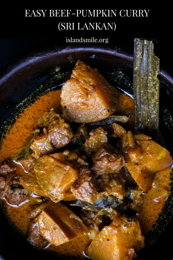 Sri Lankan beef and pumpkin curry- part stew for your crusty bread or a curry for your rice, either way, you'll enjoy a clay pot full of delicious gravy, tender beef and pumpkin cooked in Sri Lankan spices.