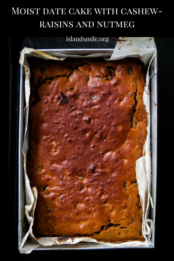 Cashew-raisin moist date cake- with chunky pieces of dates for you to enjoy, this super moist date cake will be the ideal treat when you need a spiced up cake. #easy #dates #cake #moist #food #recipe #yummy
