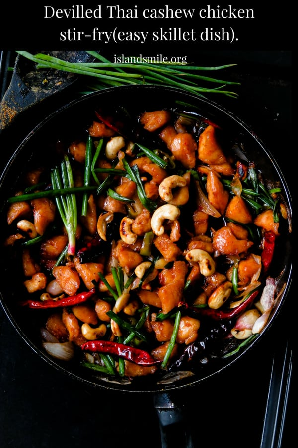 Devilled thai cashew chicken stir-fry- an easy, take-out style skillet dish. the combination of chicken and crunchy cashews in a thick sweet and spicy sauce you can season, adjust to your needs. the stir-fry is great to perk up your meals with its unique flavors.#food #recipe #cooking #chicken #meals #skillet #quick #stir-fry #chicken #thai #lunch #sweetandspiicy