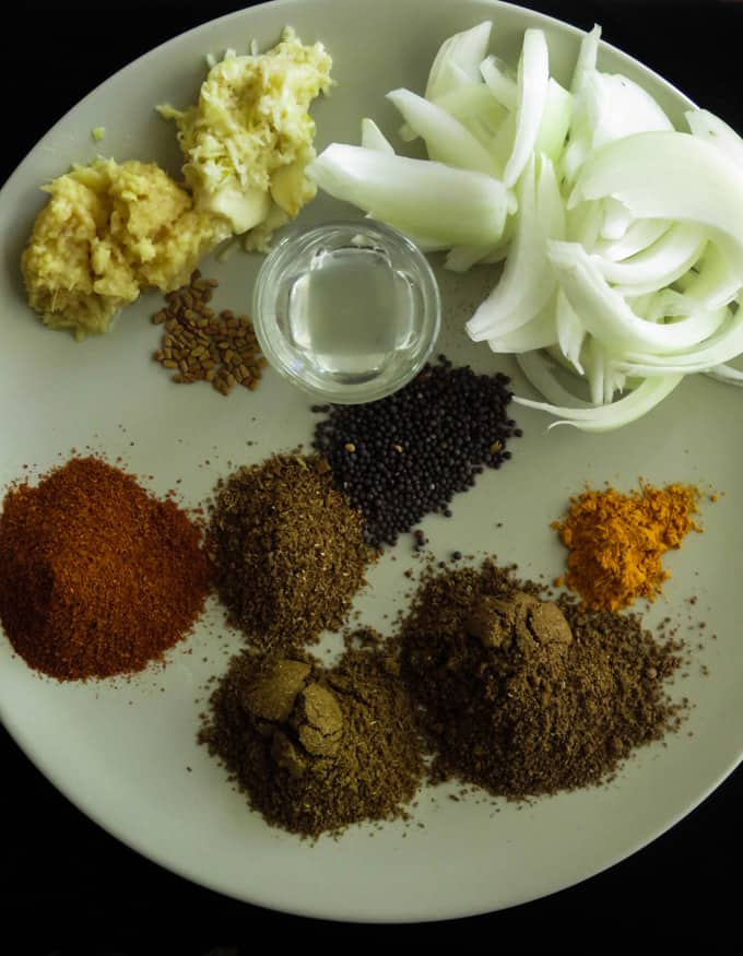 ingredients for beef and potato curry.