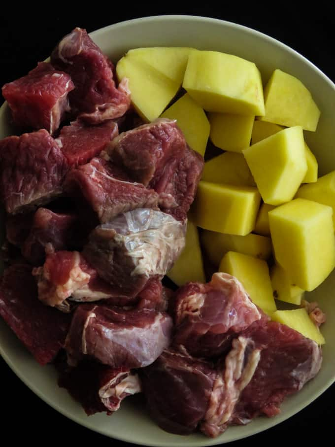 beef and potato cut for the alu gosht curry.