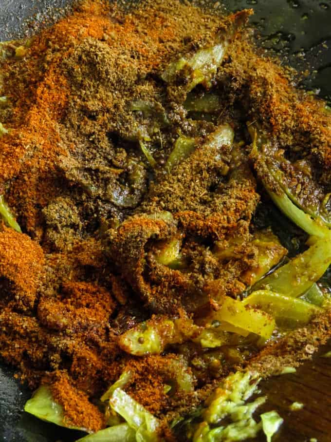spices for the indian beef and potato curry.