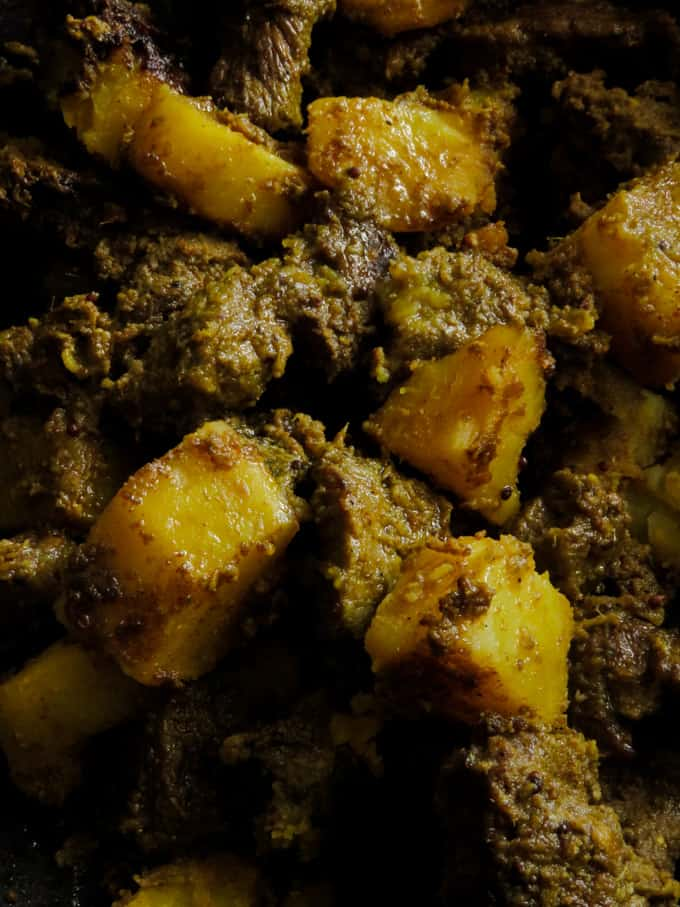 slwo cooked beef and potato curry indian restaurant style.