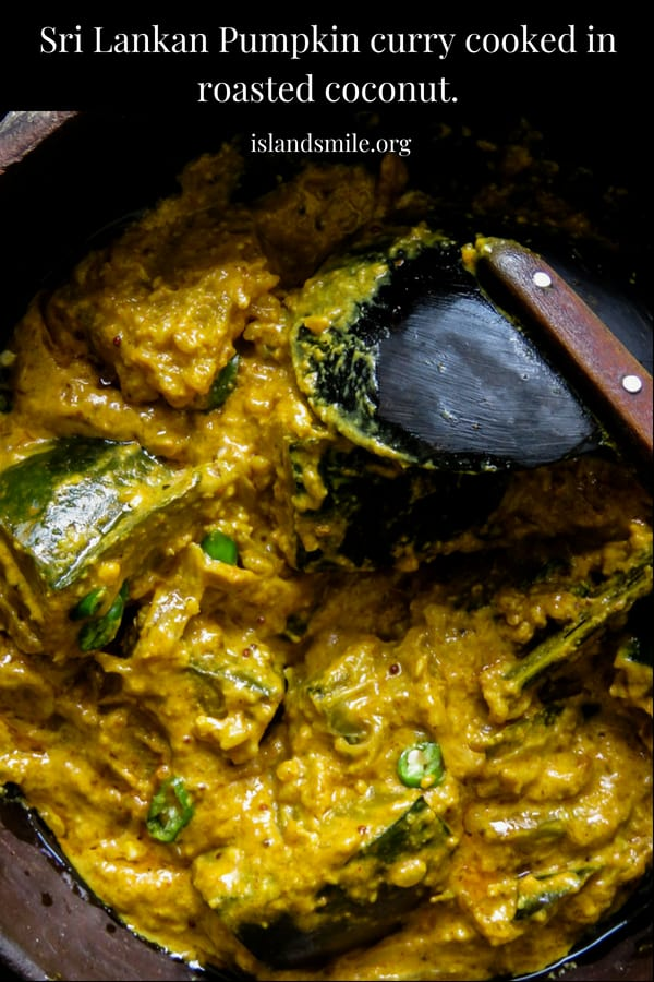 "Sri Lankan pumpkin curry in roasted coconut also known as ""kalu pol wattakka"", a much more creamier, thicker pumpkin curry than what you'll be accustomed to, try it. #srilankan #curry #vegan #vegetarian"