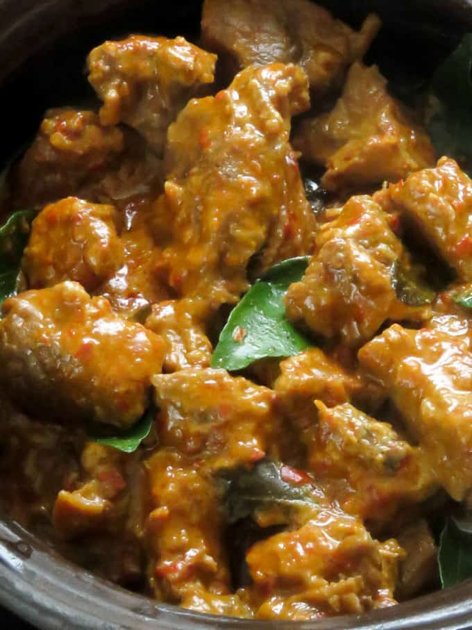coconut beef curry close up with curry leaves.