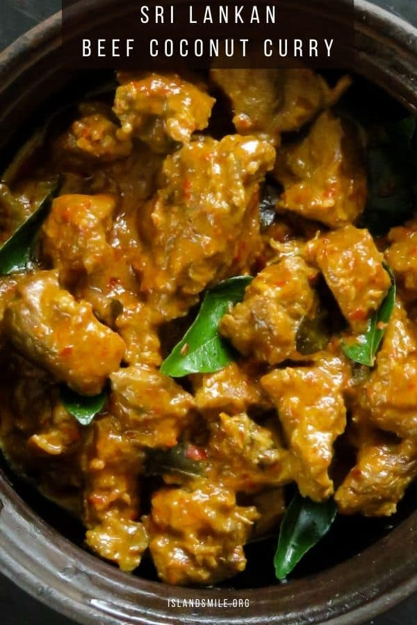 How to make beef curry cooked in coconut milk. To make a tasty Beef curry, first you marinate the beef chunks in red chilli powder, red chilli flakes turmeric and season with salt. The marinated beef cubes are then added into tempered onions, curry leaves, pandan leaf with ginger-garlic paste to give you the most amazing aroma.
