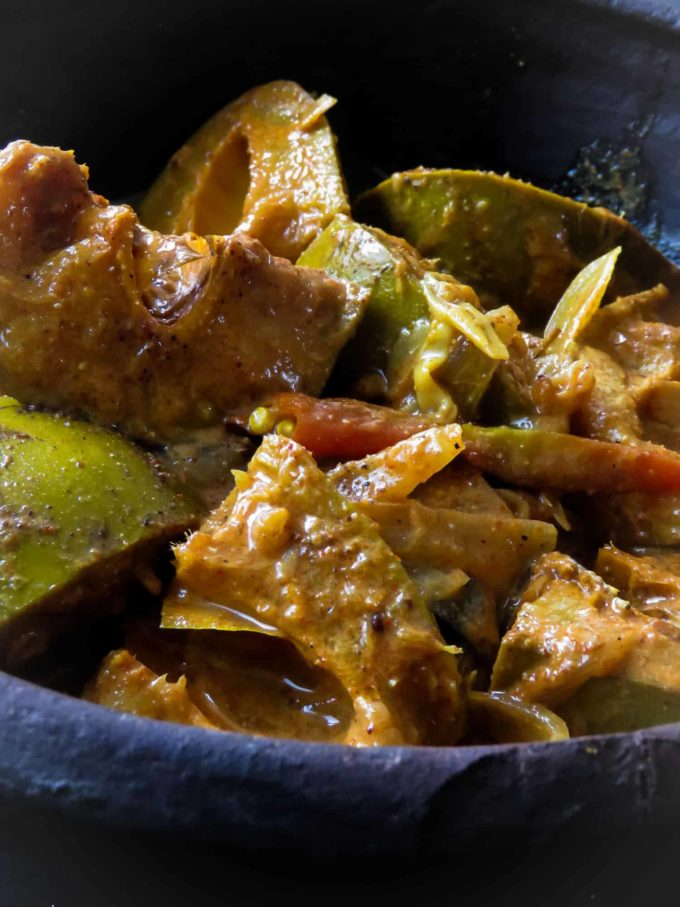 A Sri Lankan mango curry cooked with the skin on.
