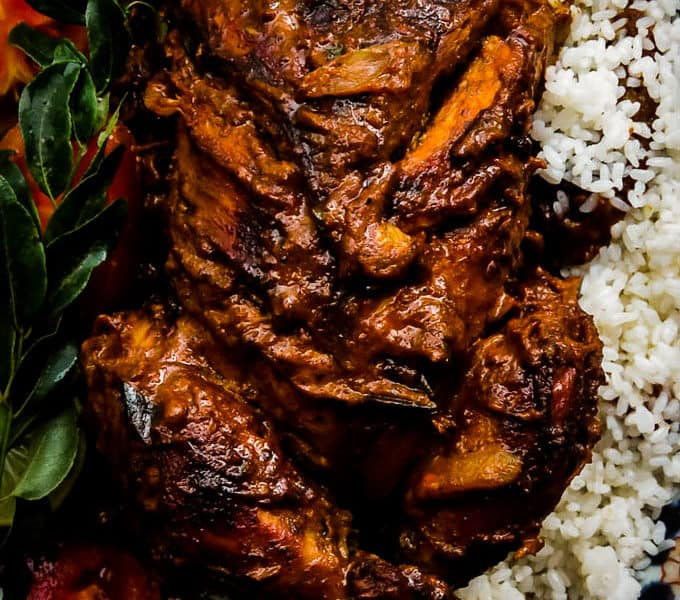 Deep fried Indian masala whole chicken roast-  A mix of fragrant spices, marinated for hours then deep-fried. golden brown crispy on the outside and tender meat on the inside that you'll love biting into.