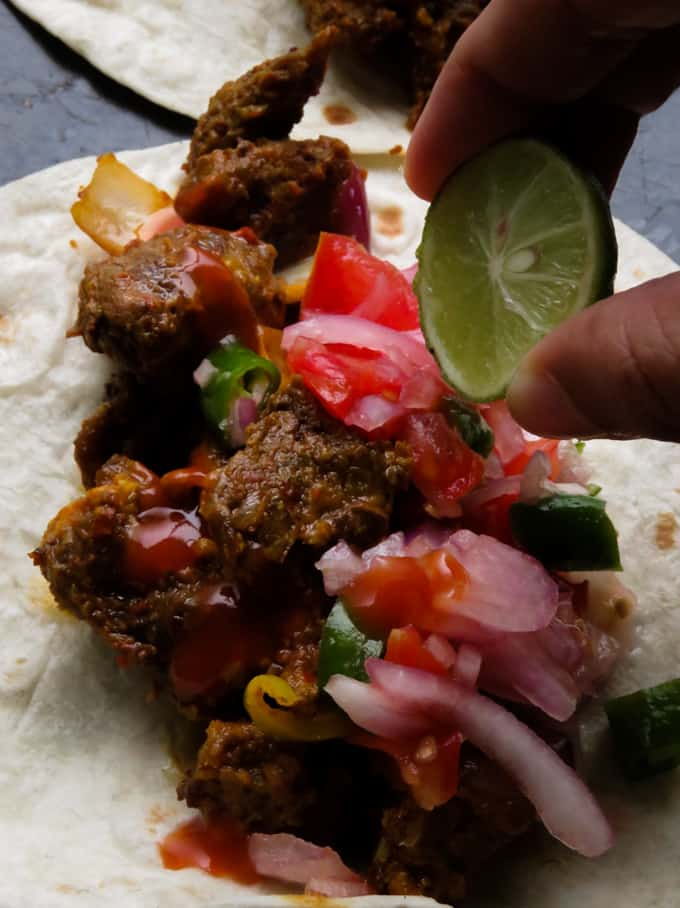 Sri Lankan style devilled beef wrap- using spicy devil beef recipe, here's how you make a wrap for real spicy food lovers.#beef #spicy #lowcarb #glutenfree #srilankan #glutenfree