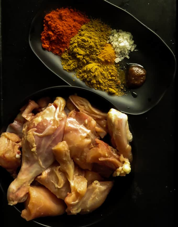 ingredients you will need to marinate the chicken curry.