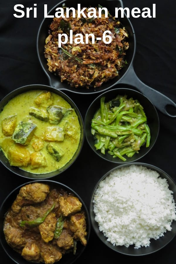 A homemade meal plan to indulge yourself in traditional Sri Lankan food. Kalupol chicken curry, creamy pumpkin curry, bean curry and banana flower stir-fry. #SriLankan #mealplan #riceandcurry #lunch #menu #curry
