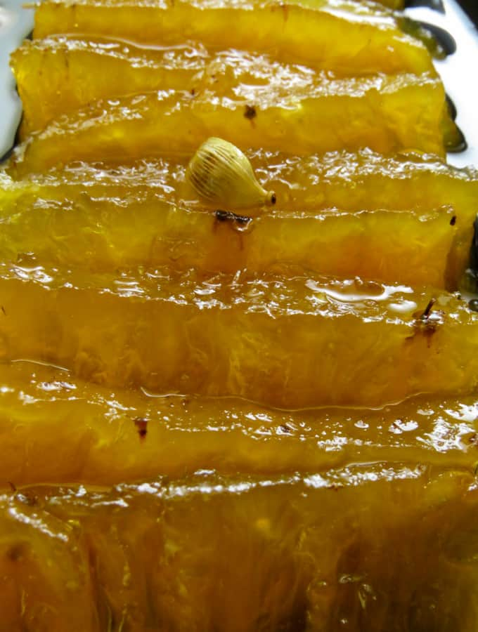 Traditional Sri Lankan muslim and malay sweet called dosi where Pineapple is cooked in Sugar syrup.