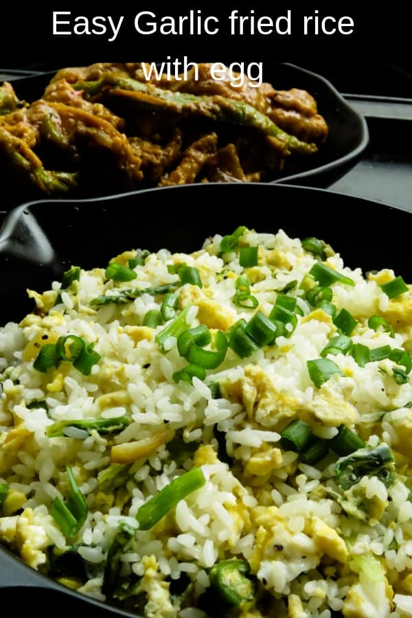Make use of any leftover rice and make the easiest Garlic and egg fried rice in with less than 5 ingredients. it's a one-pot simple meal in 30 minutes.