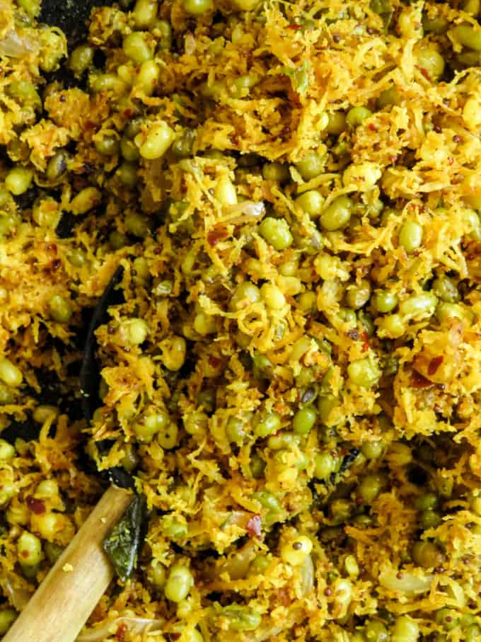 Sri Lankan green mung bean-coconut salad(mallung). A healthy vegan/vegetarian salad that can be breakfast as well as a side dish for your rice and curry.