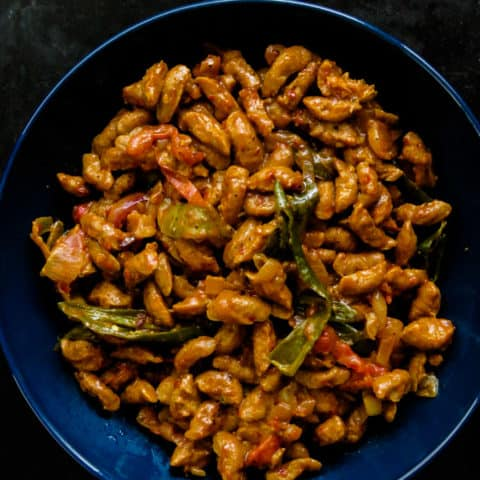 Soya chunks cooked into a Sri Lankan devil curry. Gets you the plant-based protein you need. delicious yet vegetarian side-dish that you can serve for your next meatless meal.