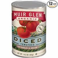 Muir Glen Canned Tomatoes, Organic Diced Tomatoes, Garlic and Onion, No Sugar Added, 14.5 Ounce Can (Pack of 12)