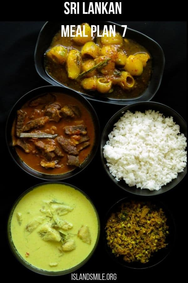 Sri Lankan meal plan 7 with recipes. For those of you who like to try a different kind of Sri Lankan menu.  Rice, green gram(mung)-coconut mallung, a spicy beef curry, ash plantain white curry and a sweet and spicy mango curry completes my menu number 7.