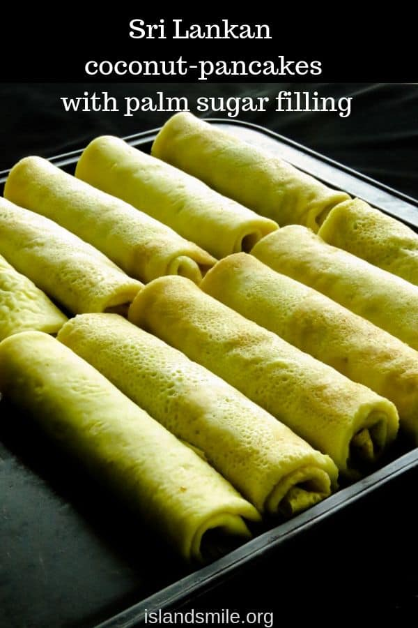 coconut milk pancakes with jaggery filling also known as pol pani.  Here's your step-by-step guide on how to make a classic Sri Lankan sweet snack. All you need are a few thin pancakes/crepes and a filling made with scraped coconut and jaggery(palm sugar).#coconut #pancakes #crepes #recipe #food #palm sugar #polpani #srilankan