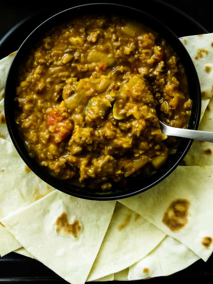 red lentil(dhal)and ground beef chili. This ground beef and lentil chili are for hectic days or days that you're tired to serve a full spread meal but still insist on making meals for the family instead of takeout.
