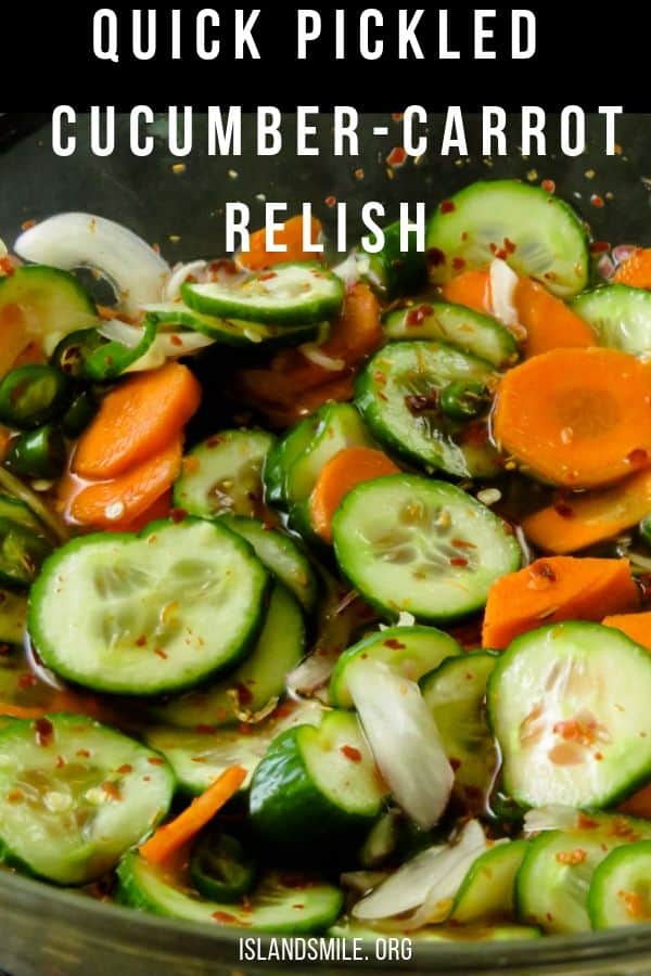 A spicy, sweet and sour cucumber salad to serve with all your grilled meats or just to munch on.   It takes less than 15 minutes to put together this bowl of cucumber-carrot relish with extra green chillies and red chilli flecks for those of you who love a punch of heat to their pickled vegetables.