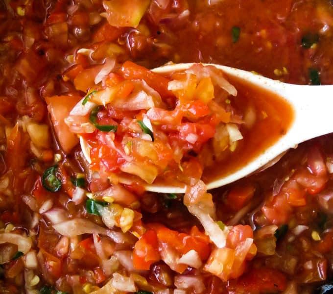chunky tomato-onion salsa/dip(spicy).