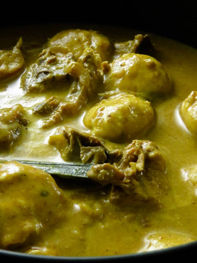CHICKEN AND DUMPLINGS CURRY(THAKKADI). A chicken and dumplings recipe for those of you who would love a curry version.