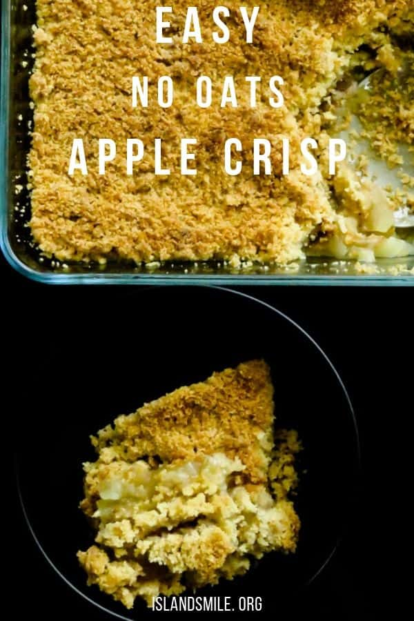 No oats apple crisp(easy American dessert). Sliced apples sprinkled with cinnamon and sugar then packed with a layer of butter and flour crumble baked to golden brown perfection. #apple #crumble #crisp #dessert #american #easy