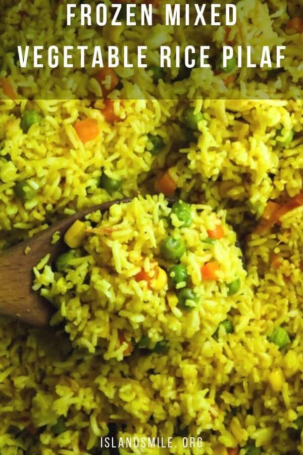 Frozen mixed vegetable rice pilaf. All you need to make this easy peasy mix vegetable rice pilaf is a bag of frozen mixed veggies and some rice. I like to save this mixed vegetable recipe under emergency meals because you do need to have a few recipes that will either save time or need to cook in a rush.