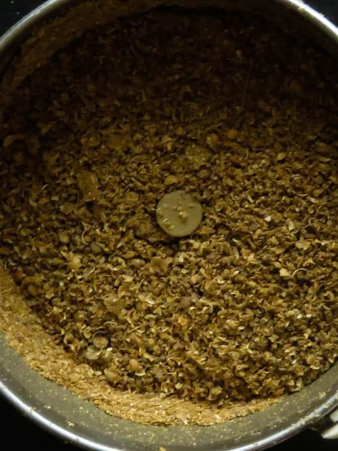 ground coriander powder using a coffee grinder