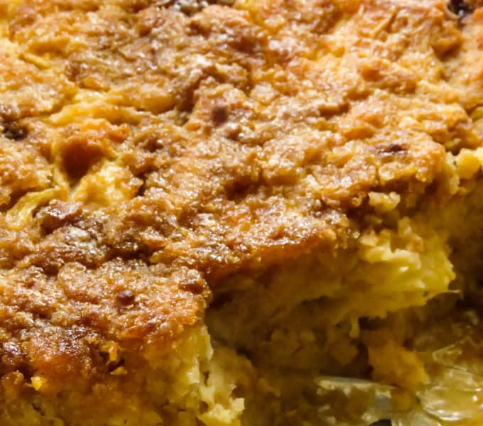 pineapple bread pudding bake, an easy dessert for the holiday season.