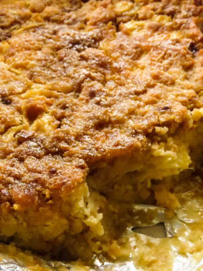 pineapple bread pudding, serve with ice cream.