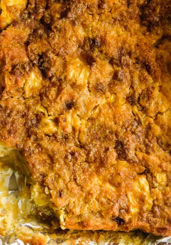 One pan, pineapple bread pudding, a crowd pleasing dessert for a party.