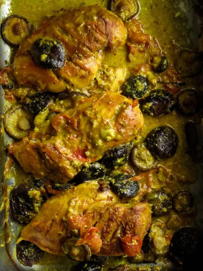sheet pan dinner. an easy lemony mushroom chicken you'll love making for your family.