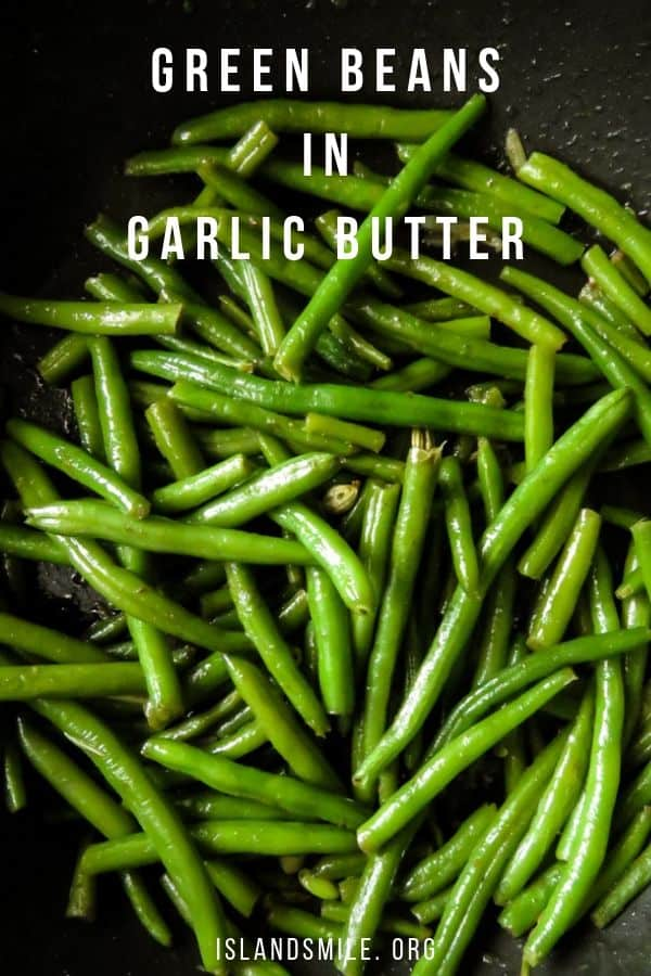green beans-garlic stir-fried in browned butter. Make the easiest holiday side-dish using fresh green beans or even frozen fine beans to make this 3 ingredient stir-fry.  Holidays, parties and family get together's can be a stressful time to make food while enjoying the whole cooking thing.