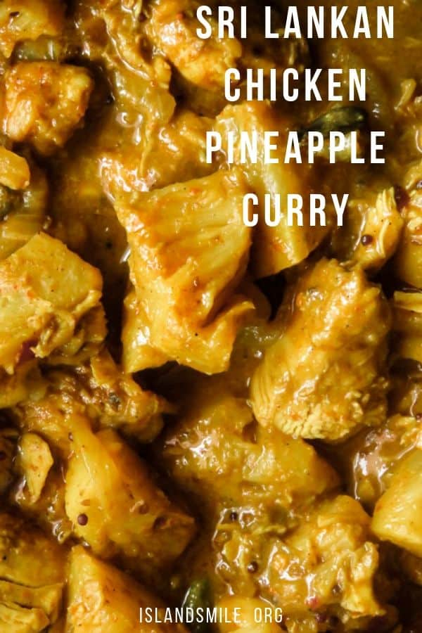 The pineapple chunks absorbing the flavors of Sri Lankan spices and coconut milk this chicken curry will definitely be a change from your usual meat dishes.Cooking this chicken curry in coconut milk makes the dish a dairy-free curry as well. The chicken dish is also ideal for anyone who is following a low carb, gluten-free diet.