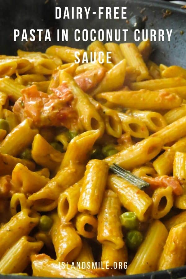 pasta in tomato coconut curry sauce(dairy-free). The coconut-tomato sauce with curry flavors and a pinch of Italian seasoning at the end gives you a delightful dinner to enjoy this weekend.