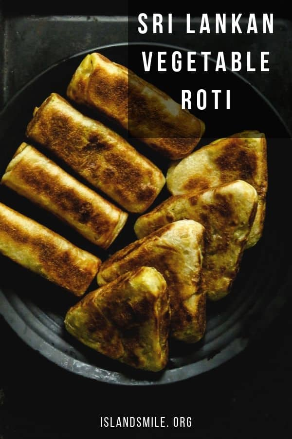 Sri Lankan home made vegetable roti, a stuffed roti with a meatless filling. a popular short eats and snack made for a breakfast on the go,