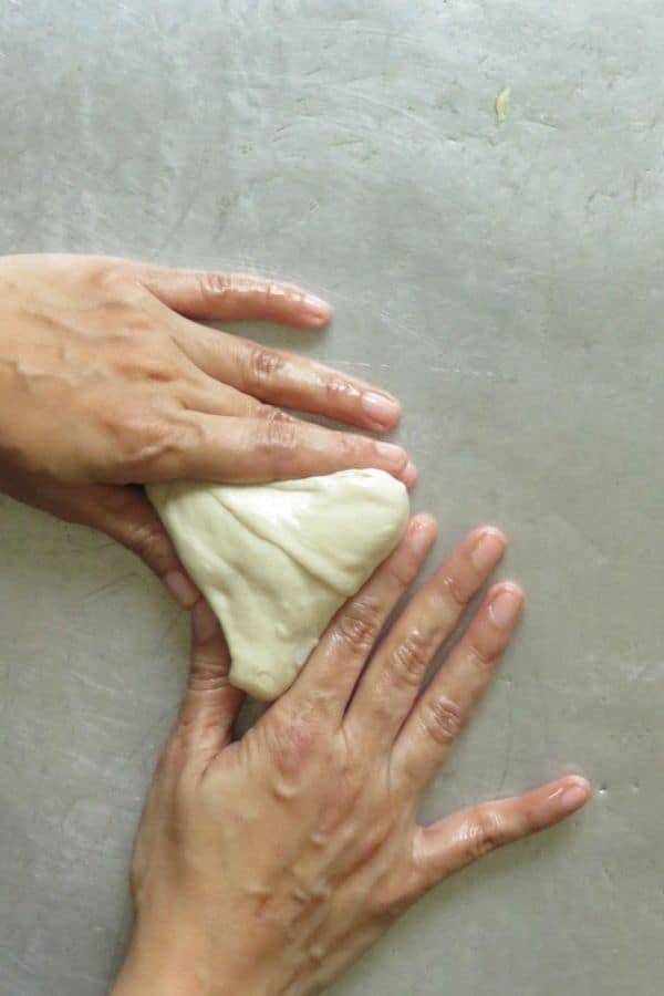 The shaped triangle shaped Sri Lankan vegetable roti.